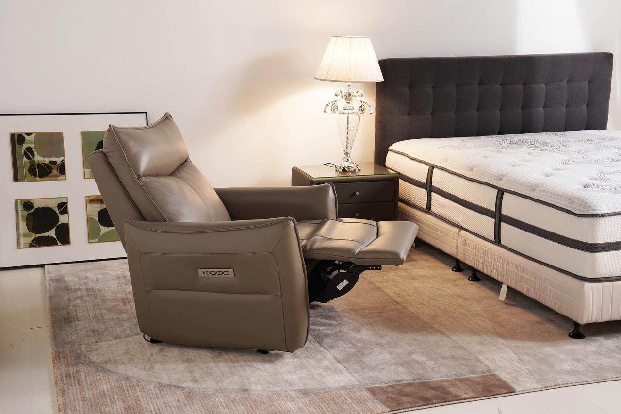 電動沙發推薦|Bourbon波本單人全牛皮電動沙發|睡眠王國集團